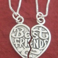 Best Friends Charms Split with 2 Sterling Silver Chains