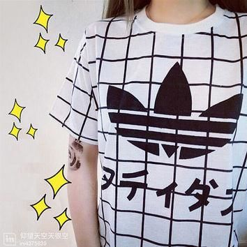 Japanese Print Japanese Clothing T-Shirt Adidas Kawaii Tumblr Grid Casual Women Tee Ja
