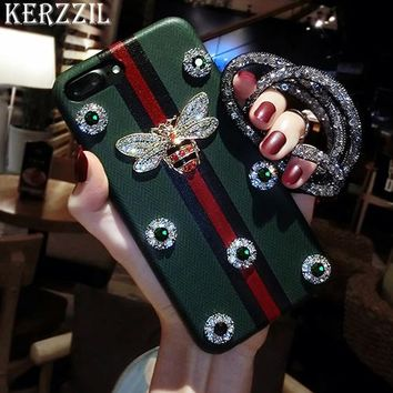 Kerzzil Luxury Rhinestones Bee Case For iPhone 7 6 6S 8 Plus Diamond Geometric Texture PU Leather Cover Back For iPhone X 6 7 6S