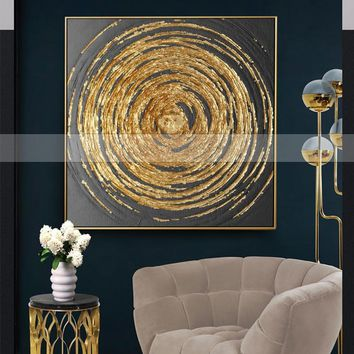 Handmade 1 piece golden Circles modern contemporary abstract oil painting on canvas wall art pictures for living room home decor