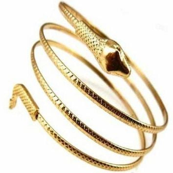 ac NOOW2 Charm Coiled Spiral Upper Arm Cuff Bangle Bracelet GD