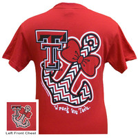New Texas Tech Raiders Anchor Chevron Bow Girlie Bright T Shirt