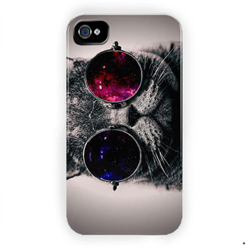 Steampunk Cat Galaxy Nebula Design For iPhone 4 / 4S Case