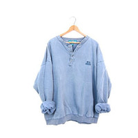 Slouchy Big Dogs Sweatshirt Faded Blue Vintage Henley Shirt Baggy Sweater Oversized Hipster Pullover 1990s COED Top Size XL