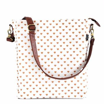 Metallic Copper Hearts Sling Crossbody
