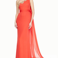 Notte by Marchesa One-Shoulder Beaded-Top Gown, Poppy