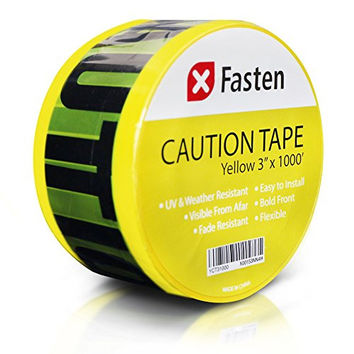 XFasten Caution Tape, Yellow, 3-Inch x 1000-Foot Fade Resistant and High Readability