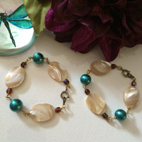 Chunky Mother of Pearl & Teal Glass Pearl Bracelet