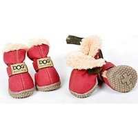 Red Ivory Teddy Fur Lined Waterproof Winter Snow Pet Dog Boots