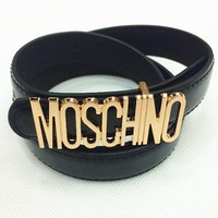 MOSCHINO Woman Men Fashion Smooth Buckle Leather Belt