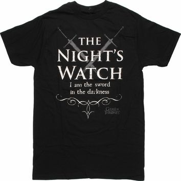 Game of Thrones Nights Watch Crossed Swords T Shirt Sheer