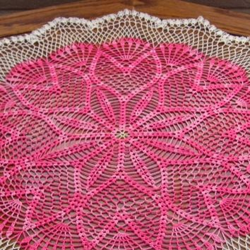 Pink Tulip Ring Doily White Scallop Border Spring Flower Crochet Lace
