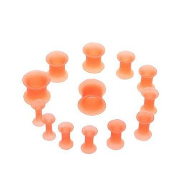 BodyJ4You 12PC Ear Plug Set Thin Silicone Double Flared Flexible Ear Stretching Tunnels Gauges Kit 8G-00G