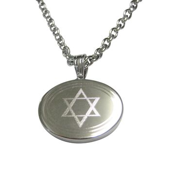Silver Toned Etched Oval Religious Star of David Pendant Necklace