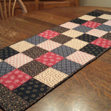 Quilted Table Runner, country table runner, 45 x 16, patchwork block pattern, reproduction print fabrics, red, blue, beige, gold