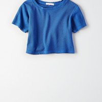 Don't Ask Why Ribbed Crop T-Shirt, Cobalt
