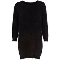 River Island Womens Black fluffy sweater dress