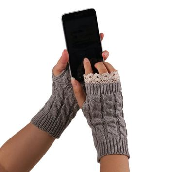 Top Quality Fashion Women Autumn Winter Warm Knitted Fringe Gloves Soft Knitting Fingerless Gloves Lace Mittens Free Shipping