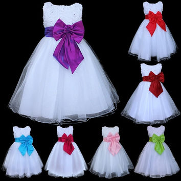 Kids Girls Bow Knot White Tulle Formal Dress Wedding Flower Pageant Party Dress = 1931927428