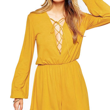 Long Sleeve Cutout Ruched Jumpsuit