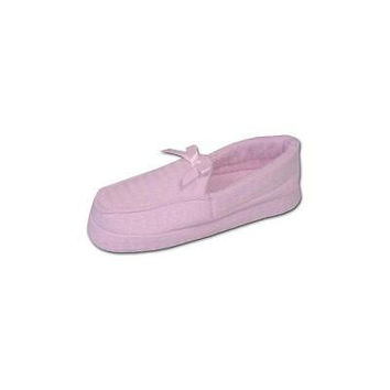 Women's Waffle Moccasin With Rayon Terry Lining Slippers, Small 5-6, Pink Muk L