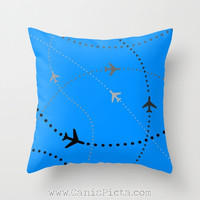 Airplane Throw Pillow 16x16 Decorative Cover Bright Modern Geometric Mod Pop Art Dot Blue Nursery Boys Room Aero Plane Flying Aviation Grey