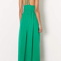 JEWEL GREEN BEADED BACK MAXI DRESS