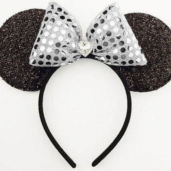 Minnie Mouse Ears Silver Mickey Mouse Ears Headband Minnie Halloween Costume Sequin Minnie Mouse Bow Minnie Headband Sparkle Mickey Ears