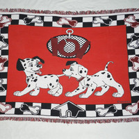 "Vintage 1990s Disney's 101 Dalmatians Throw Blanket by Beacon | 67"" x 46"" 100% Cotton 