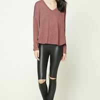 V-Neck Dolphin Hem Top