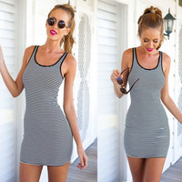 Fashion Casual Stripe Round Neck Sleeveless Vest Bodycon Mini Dress