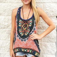 Boho Tribal Print Blouses Summer Women Ladies Casual Loose Sleeveless Beach Wear Shirts Vintage blusas Tops Plus Size