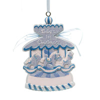 Holiday Ornaments Baby's 1St Christmas Carousel Resin Ornament