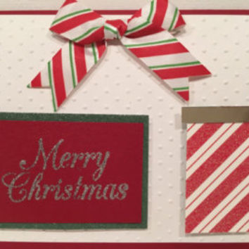 Red Candy Stripes Handmade Christmas Card