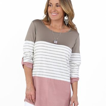 Colorblock & Stripes 3/4 Sleeve Top | S-XL