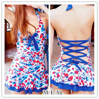 M/L/XL Blue Strawberry Halter One-piece Swimming Suit SP151998