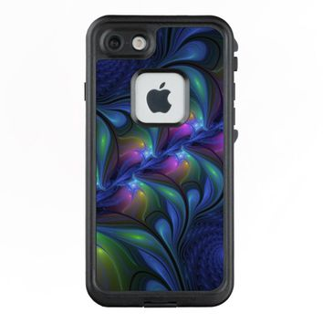 Colorful Luminous Abstract Blue Pink Green Fractal LifeProof® FRĒ® iPhone 7 Case