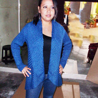 Peruvian Design Alpaca Wool Circular Cardigan for Women.