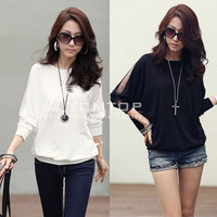 Women's Long Lace Sleeve Loose T-Shirt Batwing Tops Blouses Black White 2 Colors
