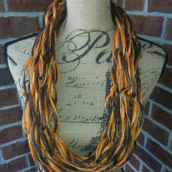 Wool Arm knitted infinity scarf, orange and brown, lightweight scarf, knit scarf, infinity scarf, Halloween scarf, fall fashion scarf