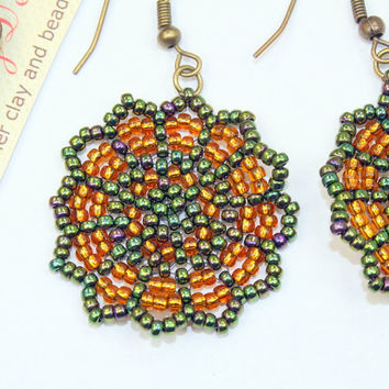 Dangle earrings, green and brown peyote stitch handmade bead woven earrings