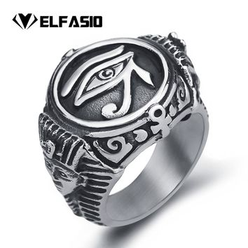 Mens Stainless Steel Ring Egyptian Pharaohs Eye of Horus Ra Udjat Silver Tone Jewelry