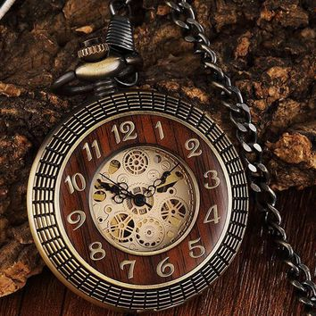 Wood Circle Case Mechanical Pocket Watch Hand-wind Antique Gold Skeleton Steampunk Fob Chain Men Clock Reloj de madera Bolsillo