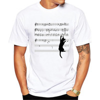2017 New Summer Style Funny Music Style Sheet Music Naughty Cat Printed T Shirt Men Plus Size Clothing s 3xl-in T-Shirts from Men's Clothing & Accessories on Aliexpress.com | Alibaba Group