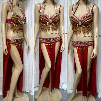 Red Gold Flareon Gypsy Belly Dancer Rave Bra Cosplay Halloween Costume Pokemon Show Girl Burlesque