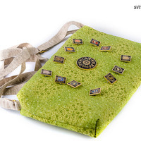 Free shipping Boho crossbody handbag Cotton and linen bag Boho bag Pin brooshes bag Zodiac style green bag Small bag Iphone purse