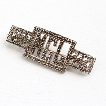 Vintage Sterling Silver Marcasite Brooch Initialed MLC - Art Deco 1930s Bar Pin Monogrammed Jewelry