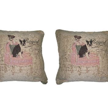 DaDa Bedding Set of Two Royal Dogs Bulldog Beagle Cushion Covers w/ Pillow Inserts, 2-PCS, 18""
