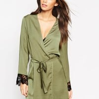 ASOS Lace Sleeve Satin Robe