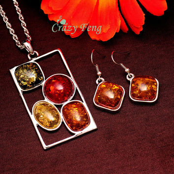 Women's Vintage Retro Silver Plated Amber African Jewelry Sets Wedding Chain Necklace Earrings sets Free shipping